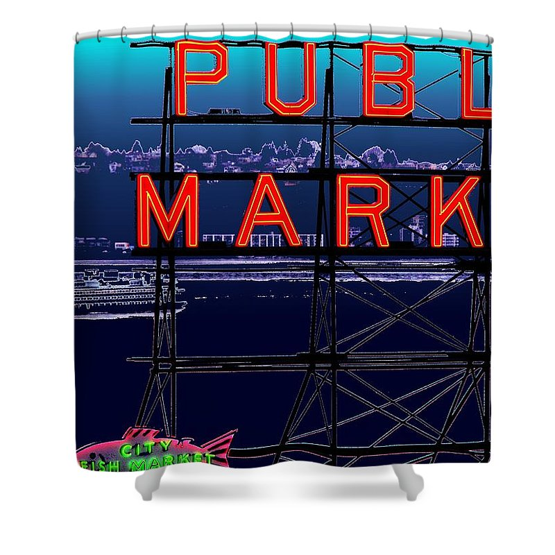 Seattle Shower Curtain featuring the digital art Market Ferry by Tim Allen