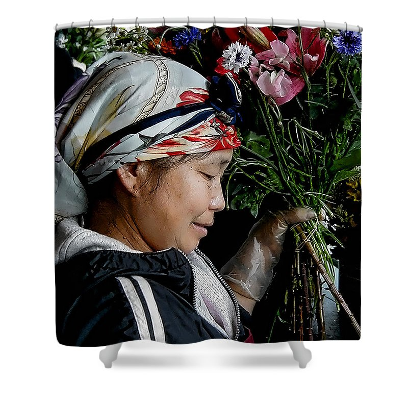 Flowers Shower Curtain featuring the photograph Market Flowers by David Patterson
