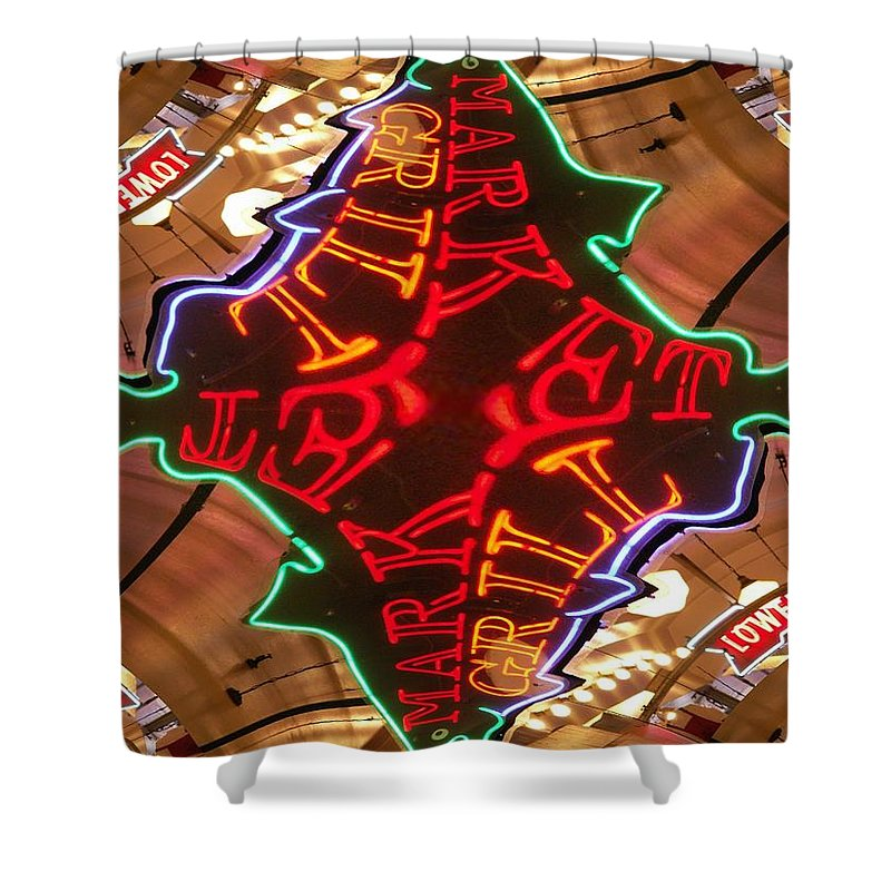 Seattle Shower Curtain featuring the photograph Market Grill by Tim Allen
