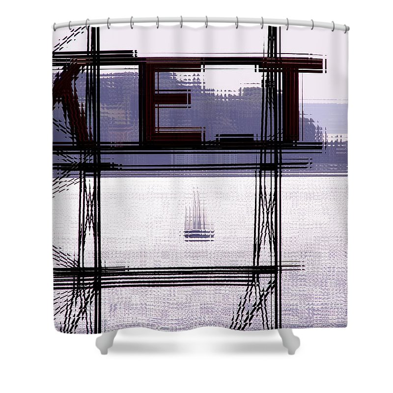 Seattle Shower Curtain featuring the digital art Market Sail by Tim Allen