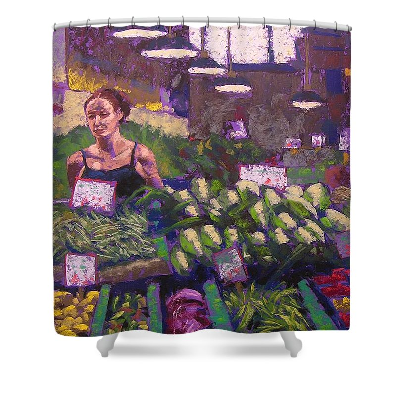 Pike Place Market Shower Curtain featuring the painting Market Veggie Vendor by Mary McInnis