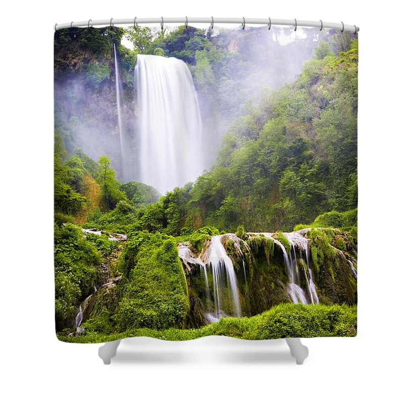 Italy Shower Curtain featuring the photograph Marmore Waterfalls Italy by Marilyn Hunt