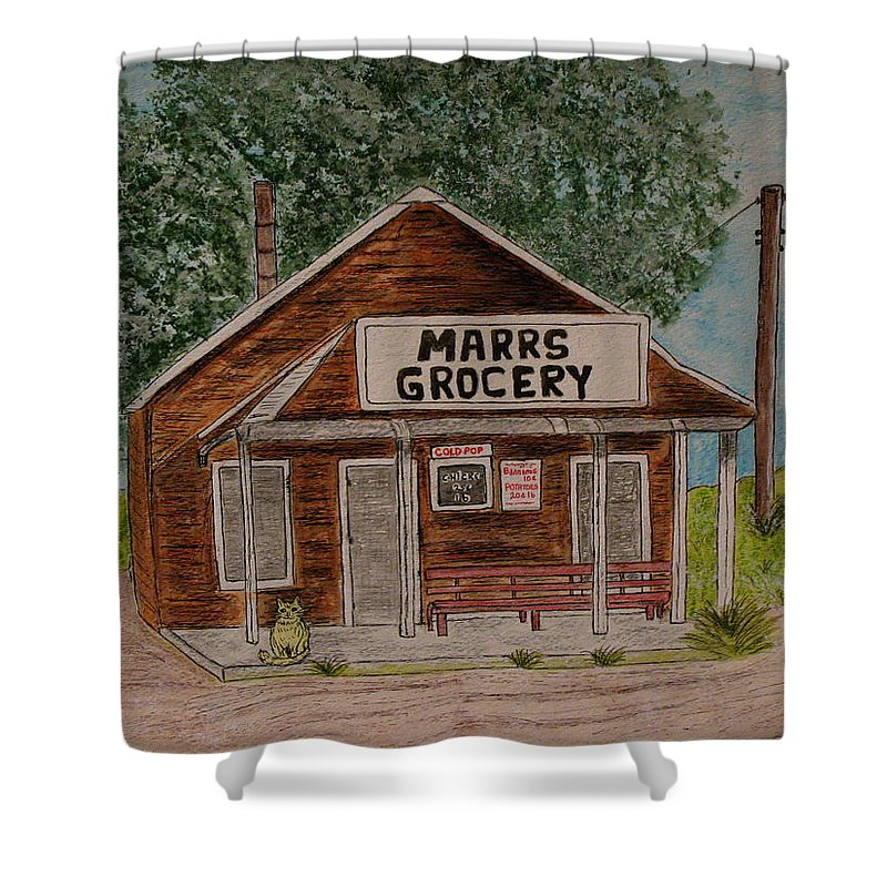 Marrs Shower Curtain featuring the painting Marrs Country Grocery Store by Kathy Marrs Chandler