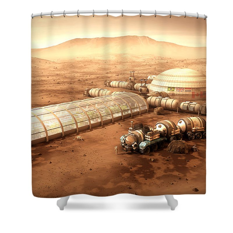 Mars Settlement Shower Curtain Featuring The Mixed Media With Farm By Bryan Versteeg