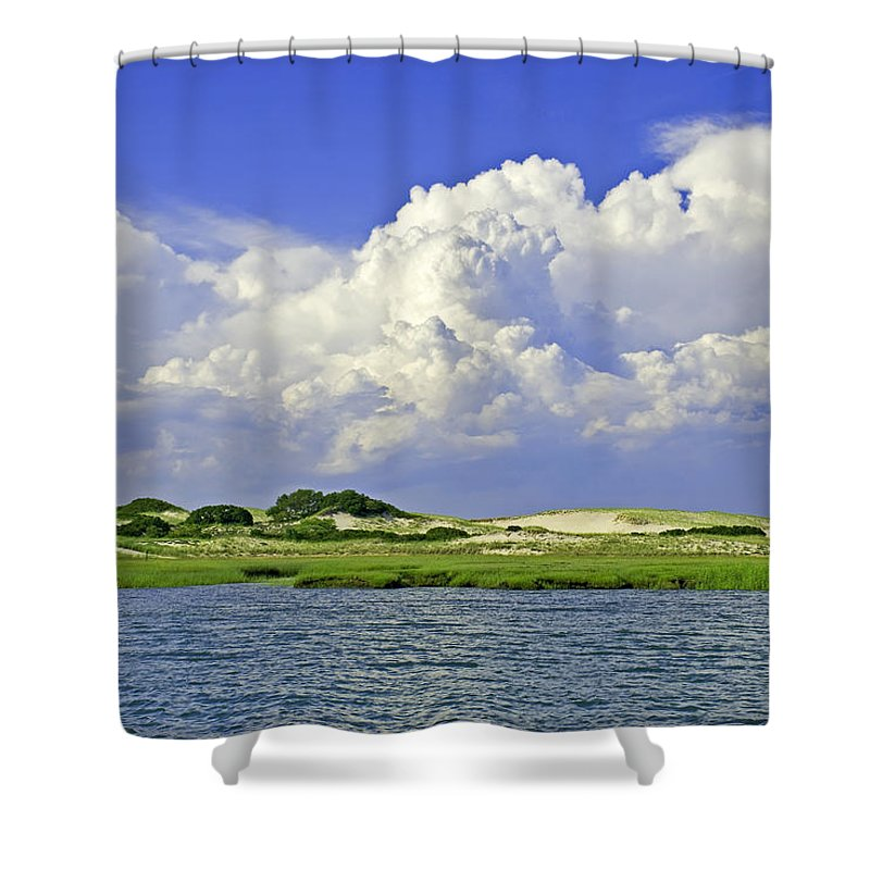 Marsh Shower Curtain featuring the photograph Marsh And Dunes by Charles Harden