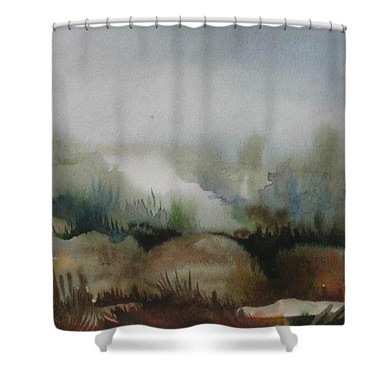 Marsh Shower Curtain featuring the painting Marsh by Anna Duyunova