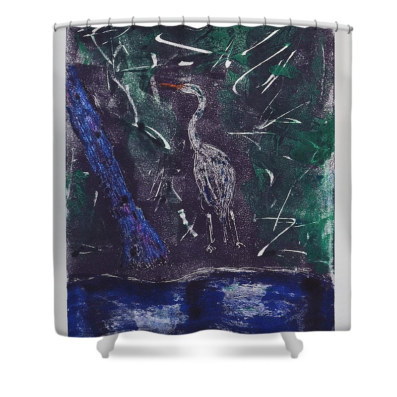 Monotype Shower Curtain featuring the mixed media Marsh Magic by Cori Solomon
