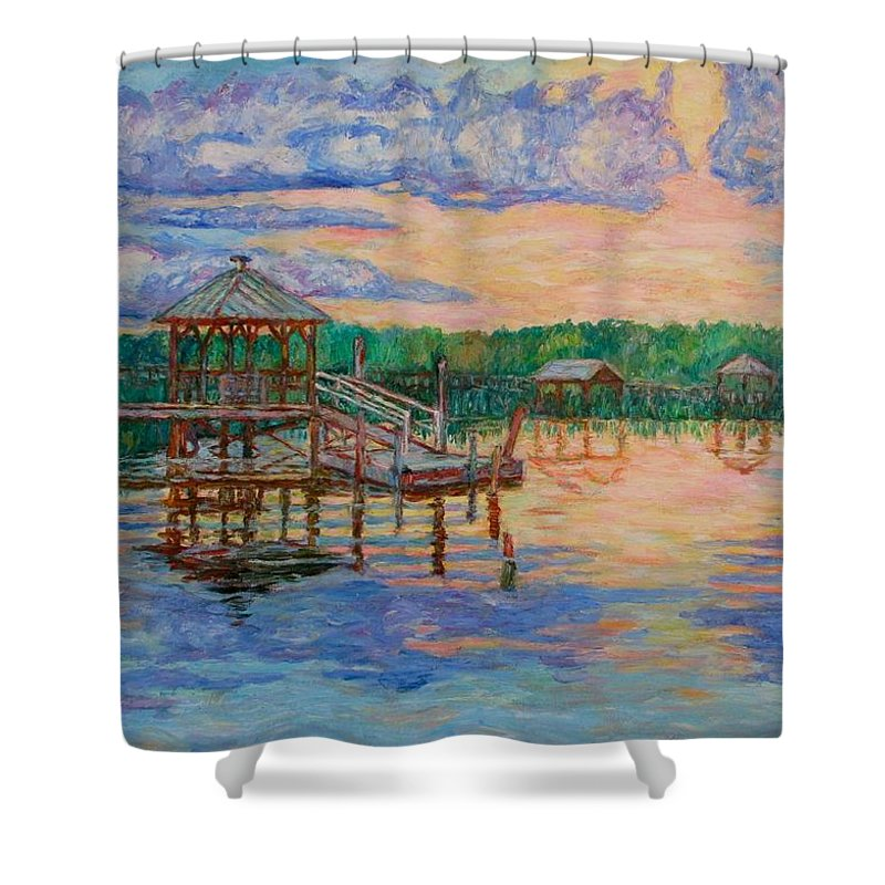 Landscape Shower Curtain featuring the painting Marsh View At Pawleys Island by Kendall Kessler