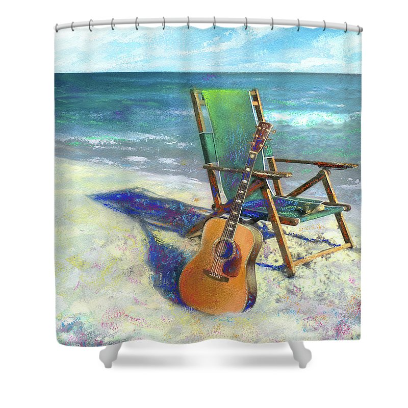 Guitar Shower Curtain featuring the painting Martin Goes to the Beach by Andrew King