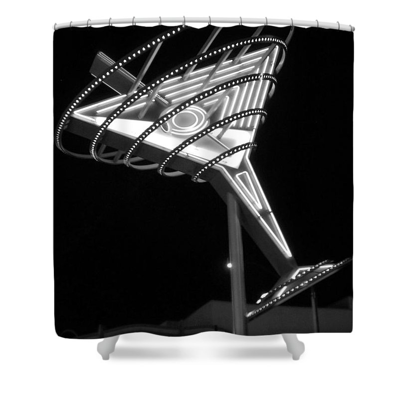 Martini Shower Curtain featuring the photograph Martini Sign B-w by Anita Burgermeister