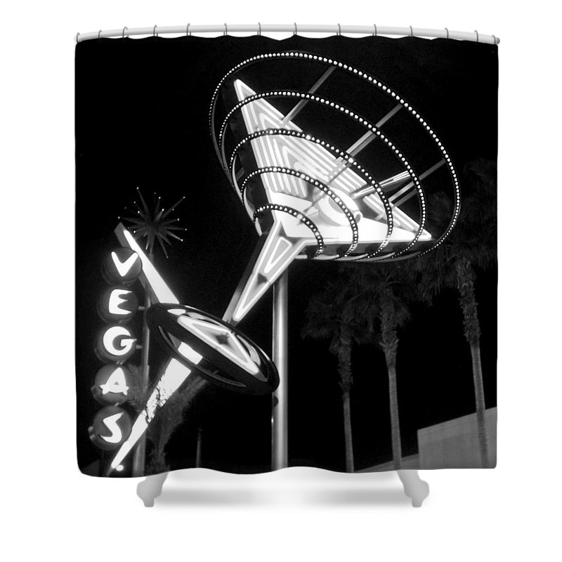 Martini Shower Curtain featuring the photograph Martini Sign In Vegas B-w by Anita Burgermeister