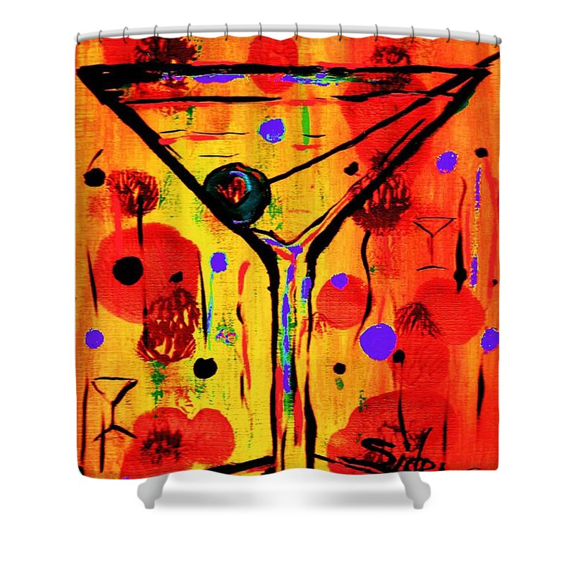 Martini Shower Curtain featuring the painting Martini Twentyfive Of Sidzart Pop Art Collection by Sidra Myers