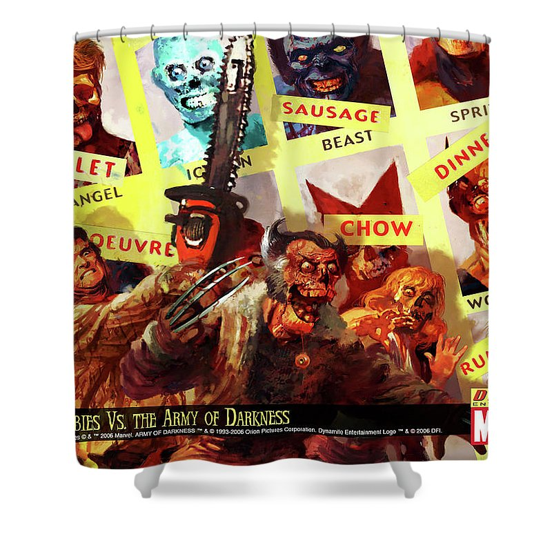 Marvel Zombies Shower Curtain featuring the digital art Marvel Zombies by Mery Moon