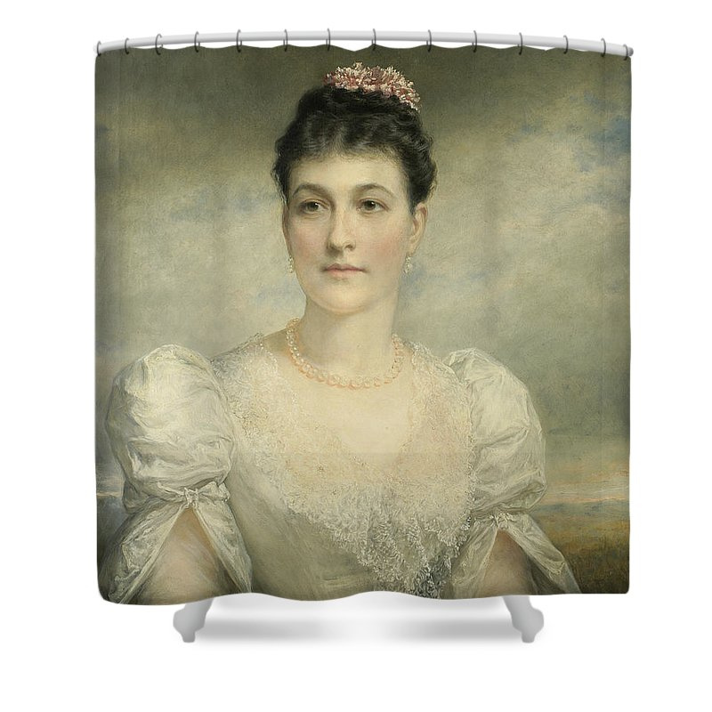 Daniel Huntington (american Shower Curtain featuring the painting Mary Gardiner Thompson by MotionAge Designs
