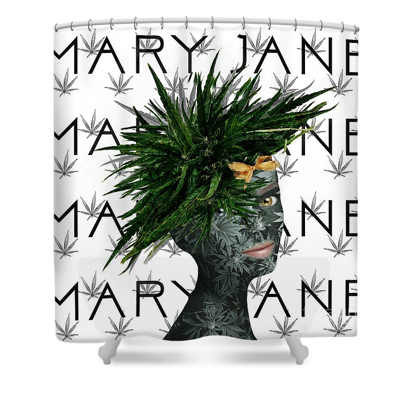 Marijuana Art Shower Curtain featuring the digital art Mary Jane by Nola Lee Kelsey