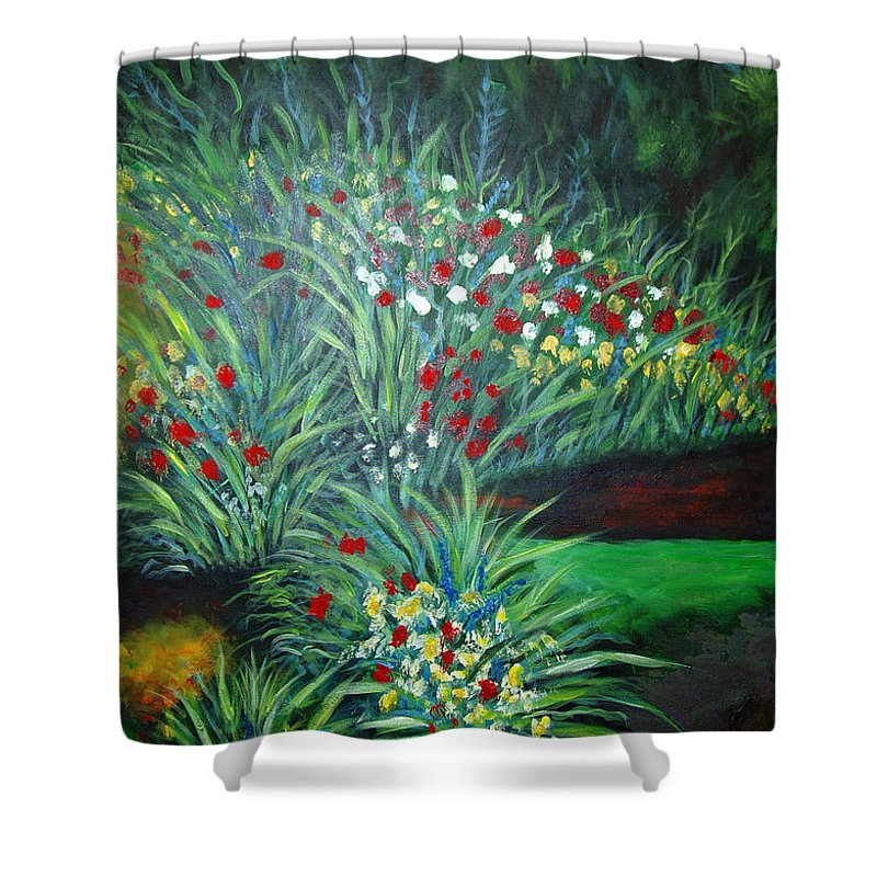 Landscape Shower Curtain featuring the painting Maryann's Garden 3 by Nancy Mueller