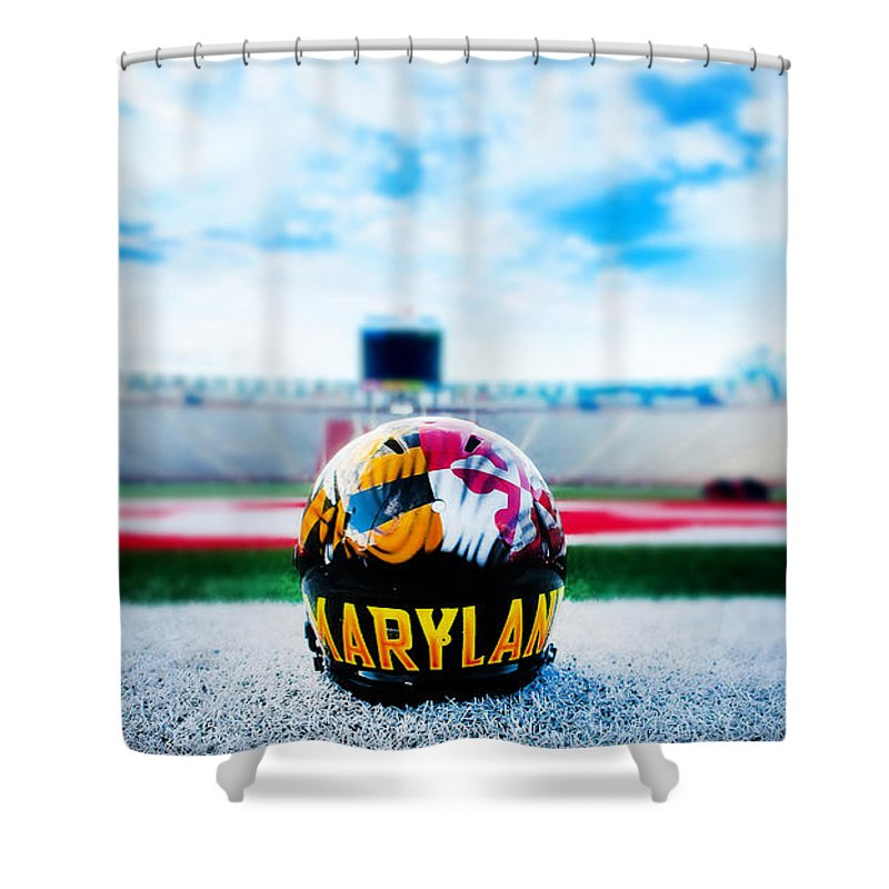 Mayland Shower Curtain Featuring The Photograph Maryland Football By Nina Thompson