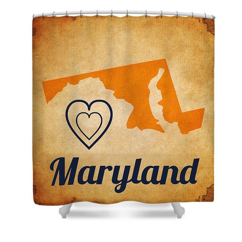Brandi Fitzgerald Shower Curtain featuring the digital art Maryland Vintage by Brandi Fitzgerald