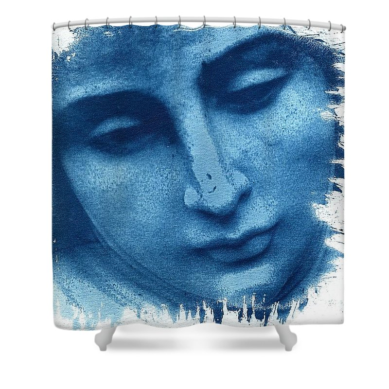 Blue Shower Curtain featuring the photograph Marys Blues by Jane Linders