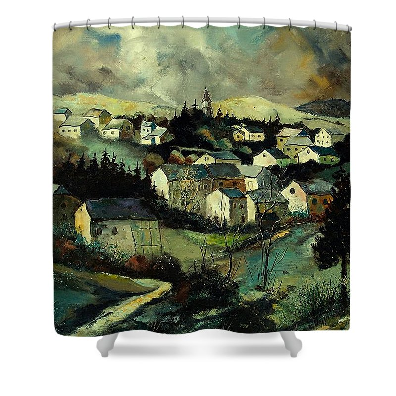 Winter Shower Curtain featuring the painting Masbourg by Pol Ledent