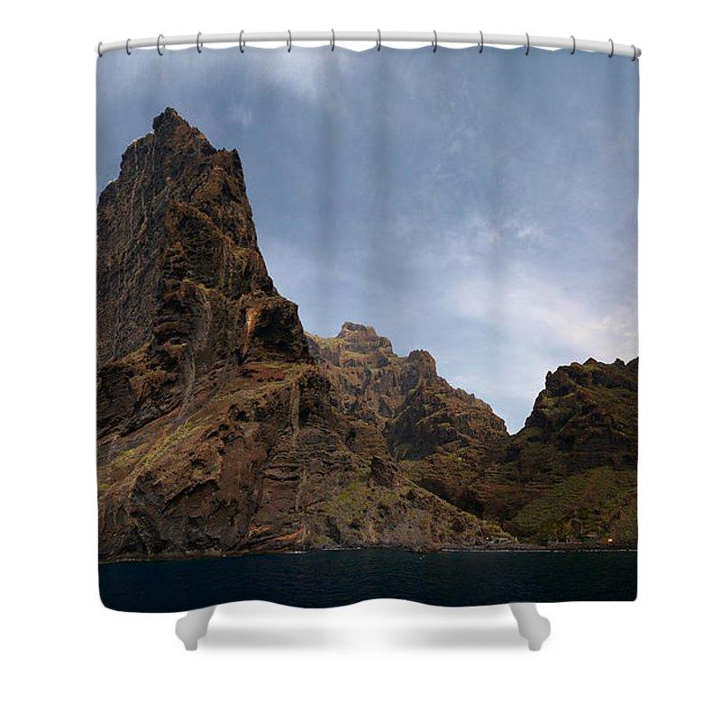 Valasretki Shower Curtain featuring the photograph Masca Valley Entrance Panorama by Jouko Lehto