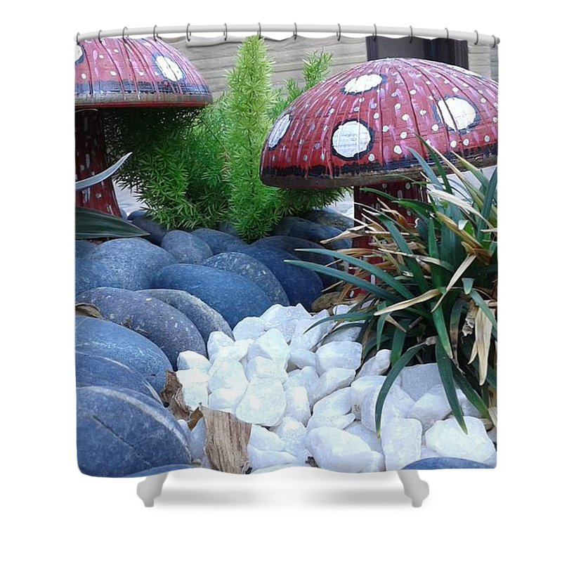 Pebbles Mashrooms In Garden. Shower Curtain featuring the photograph Mashrooms by Maha Ahmed