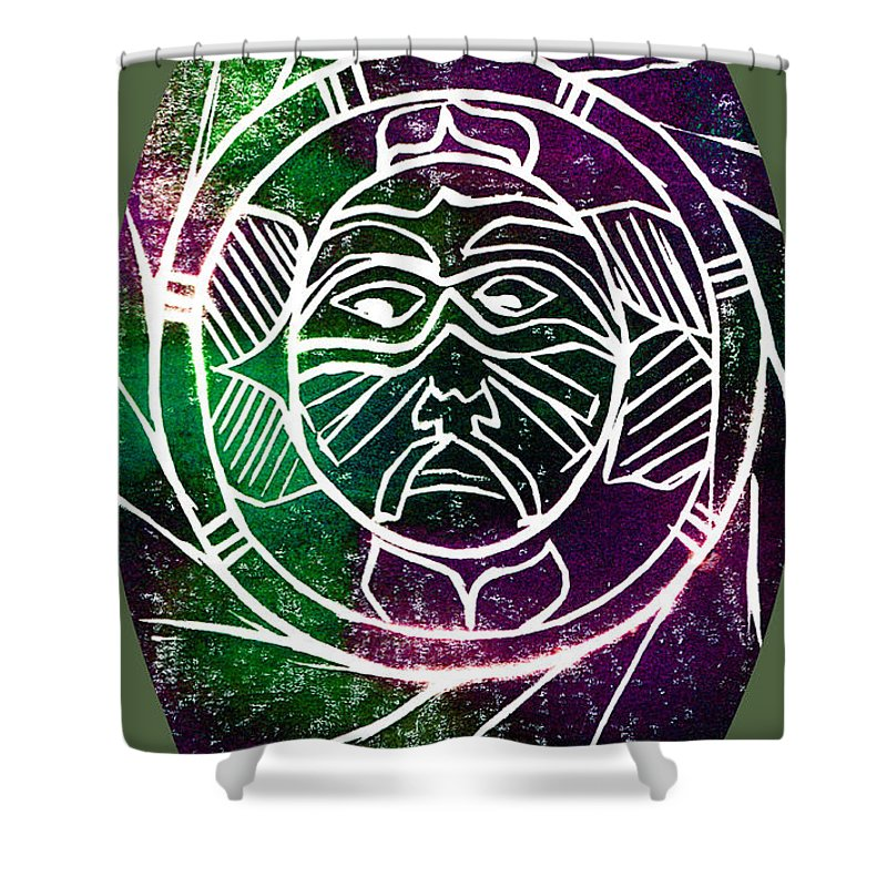 Mask Shower Curtain featuring the painting Mask by Brenda Owen