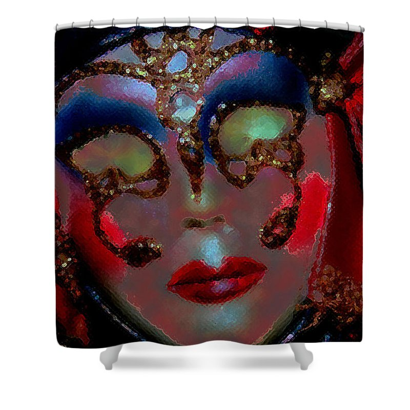 Mask Shower Curtain featuring the photograph Mask by Linda Sannuti
