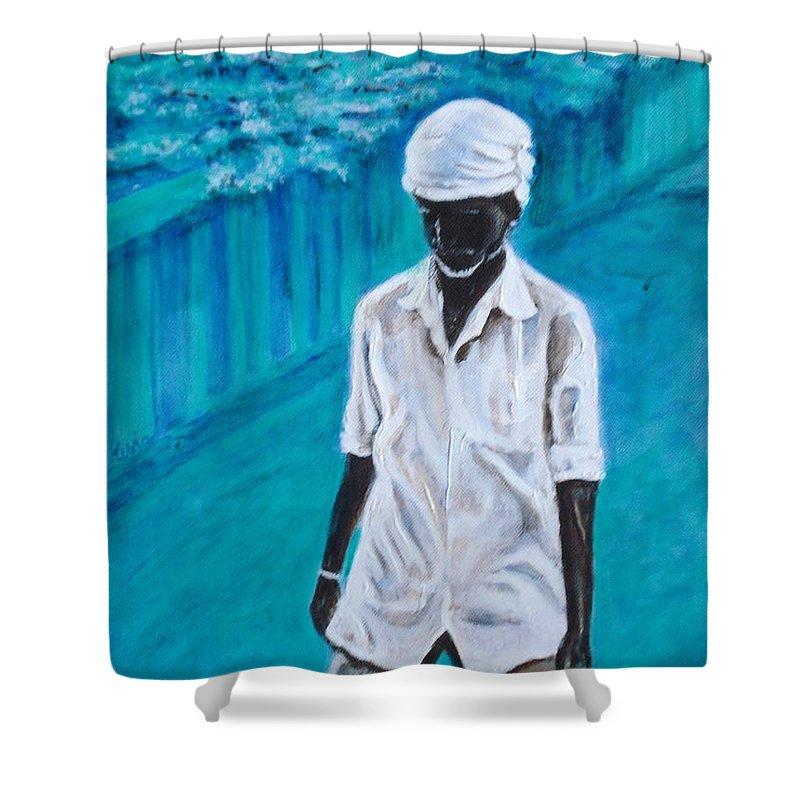 Usha Shower Curtain featuring the painting Mason by Usha Shantharam