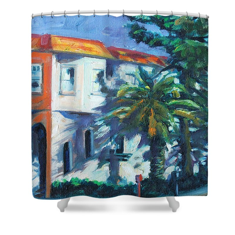 Cityscape Shower Curtain featuring the painting Masonic by Rick Nederlof