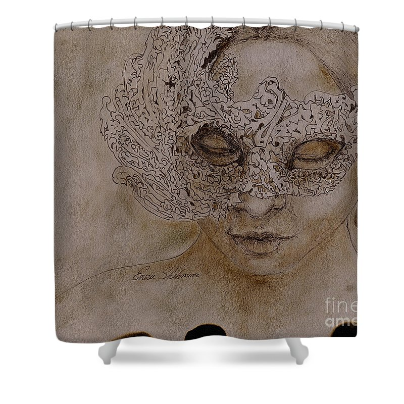Mask Shower Curtain featuring the drawing Masquerade by Portraits By NC