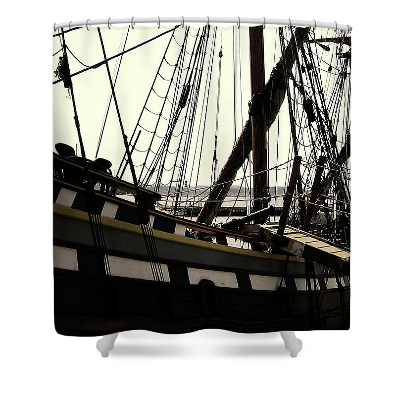 Wooden Ship Shower Curtain featuring the photograph Master And Commander V2 by Douglas Barnard