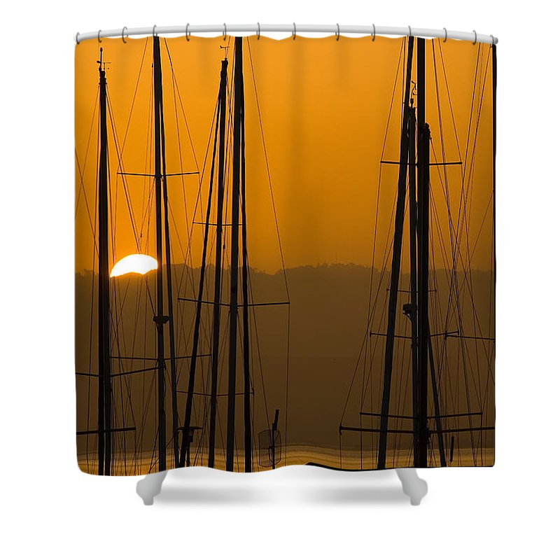 Masts Shower Curtain featuring the photograph Masts At Dawn by Mick Burkey