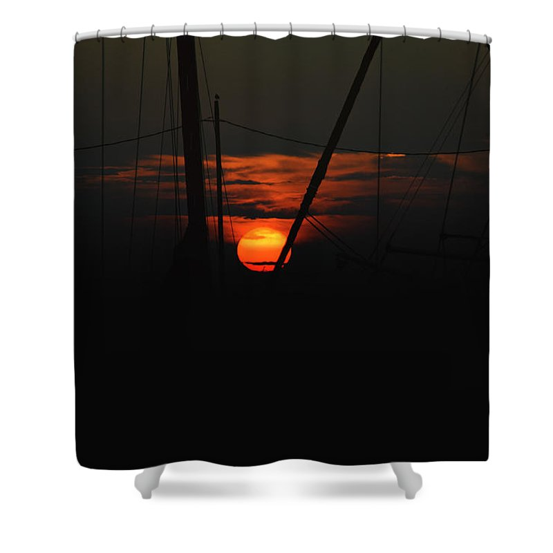Backlit Shower Curtain featuring the photograph Masts by Pete Federico