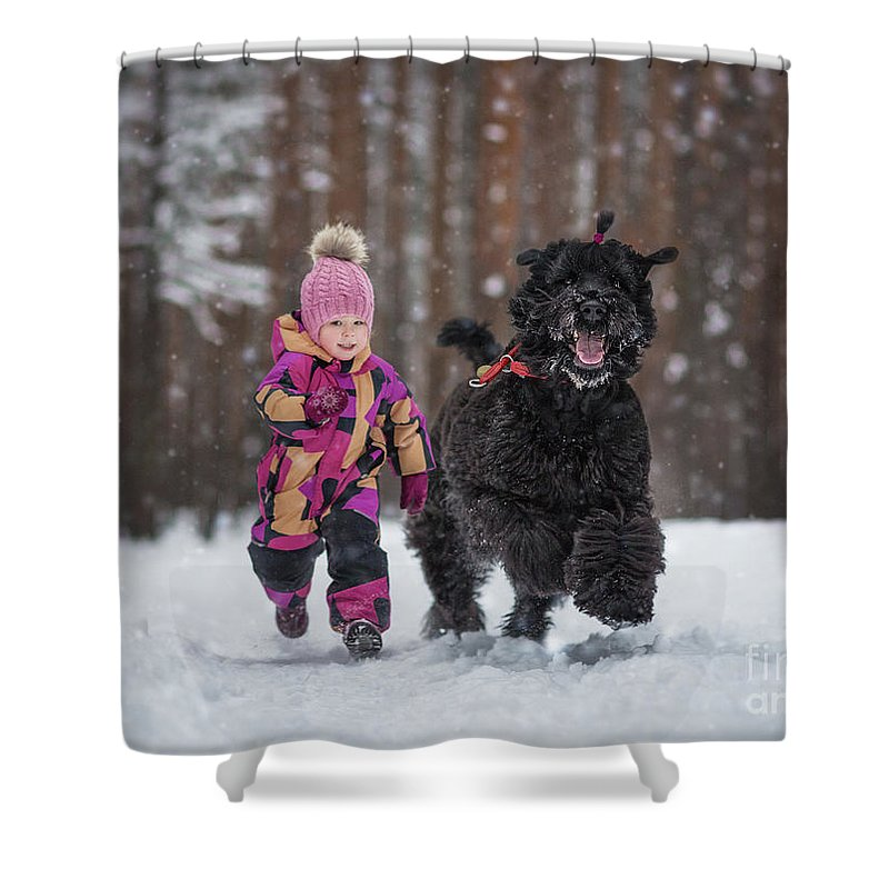 Black Russian Terriers Shower Curtain featuring the photograph Matching Pompoms by Andy Seliverstoff