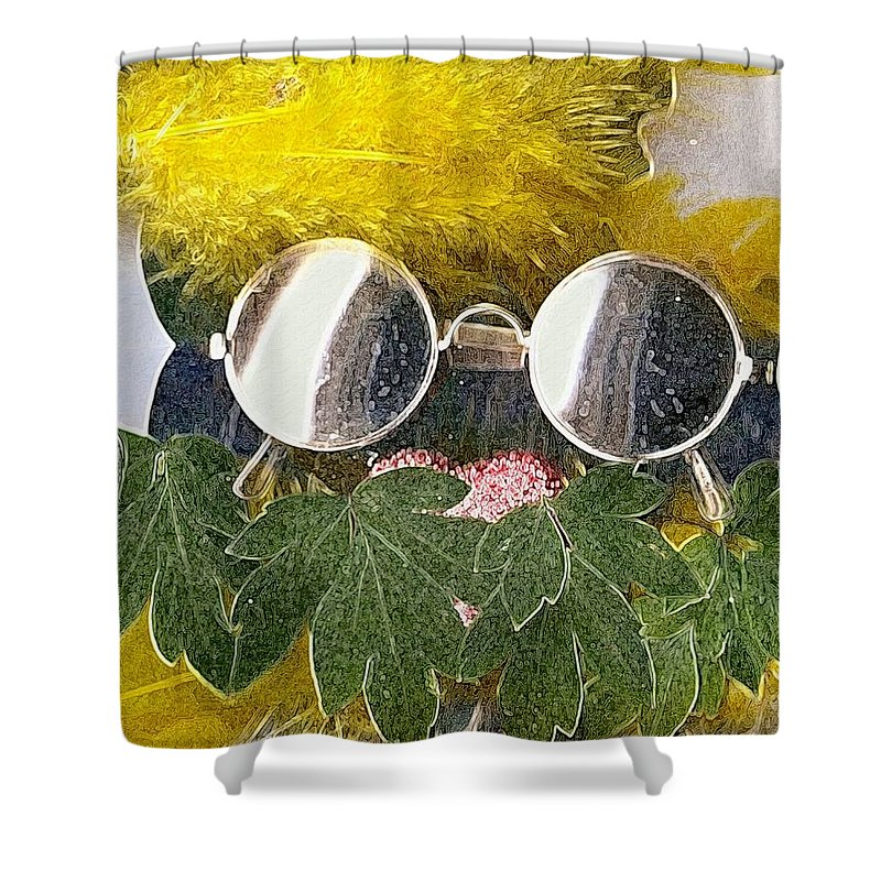 Acryl Shower Curtain featuring the mixed media Materials And Eyeglasses by Pepita Selles