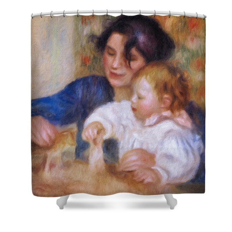 Maternal Love Shower Curtain featuring the painting Maternal Love by Georgiana Romanovna