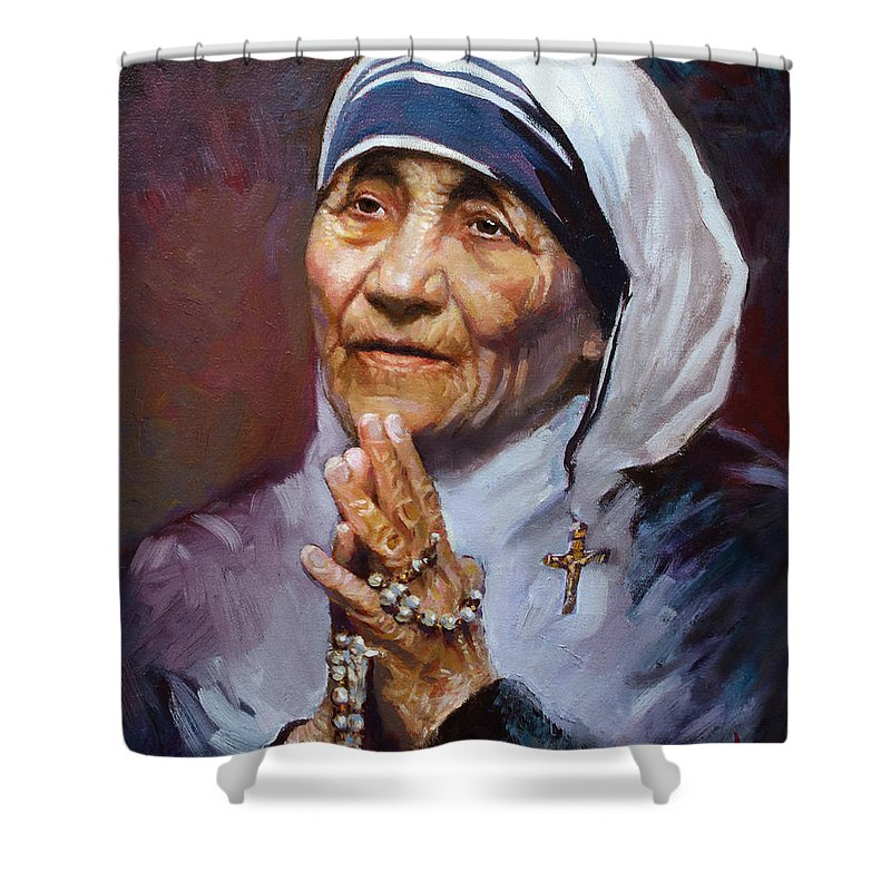 Mother Teresa Artwork Shower Curtain featuring the painting Mother Teresa by Ylli Haruni
