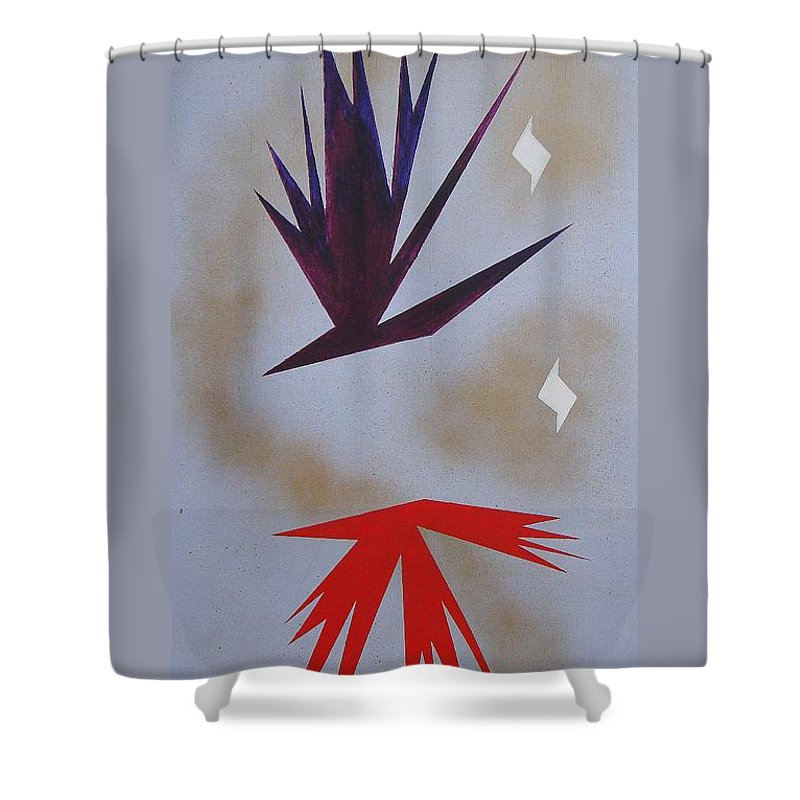 Birds Shower Curtain featuring the painting Mating Ritual by J R Seymour