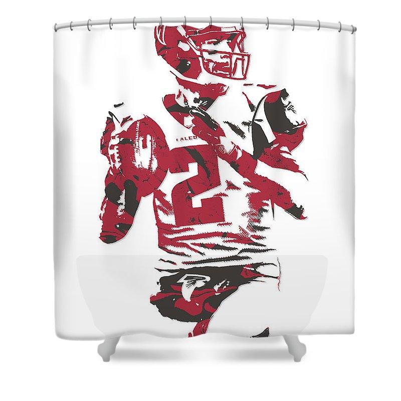 Matt Ryan Shower Curtain Featuring The Mixed Media Atlanta Falcons Pixel Art 7 By