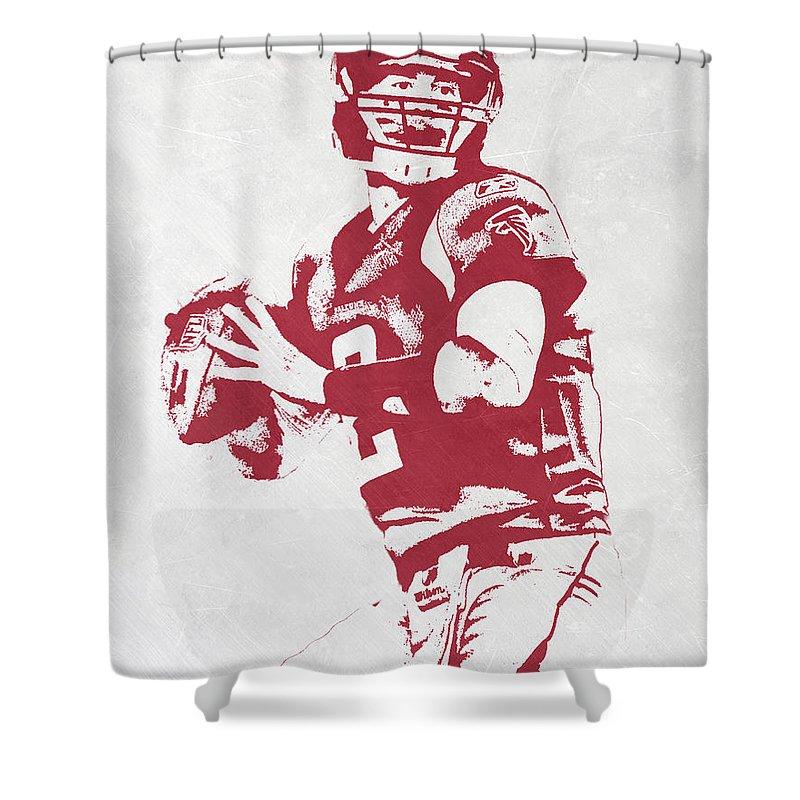 Matt Ryan Shower Curtain Featuring The Mixed Media Atlanta Falcons Pixel Art By Joe