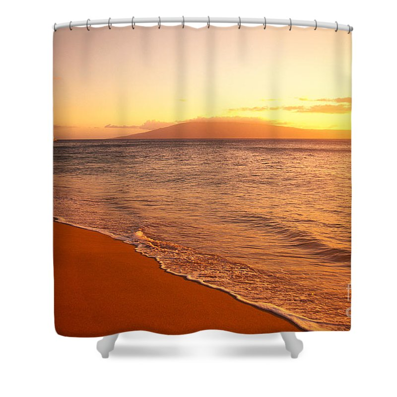 Afternoon Shower Curtain featuring the photograph Maui, Hazy Orange Sunset by Dana Edmunds - Printscapes