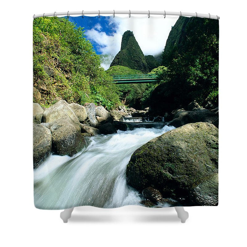 Active Shower Curtain featuring the photograph Maui, Iao Needle by Bob Abraham - Printscapes