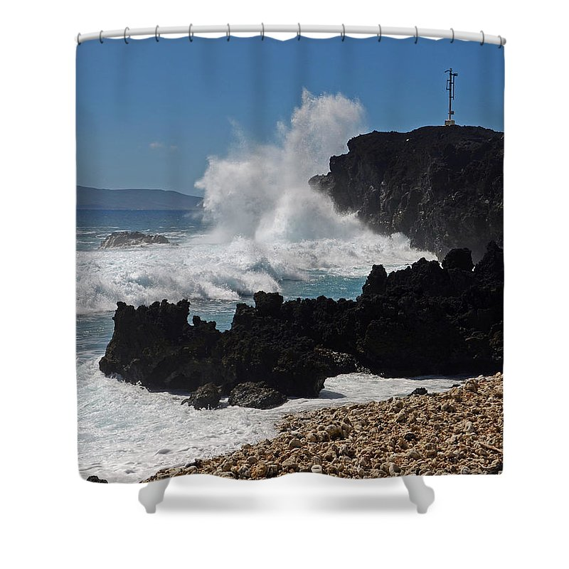 Maui Shower Curtain featuring the photograph Maui Lava Wave by Dave Saltonstall