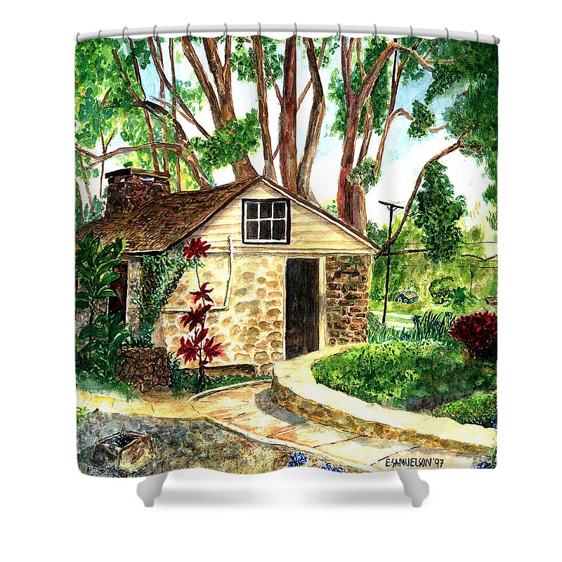 Maui Shower Curtain featuring the painting Maui Winery by Eric Samuelson