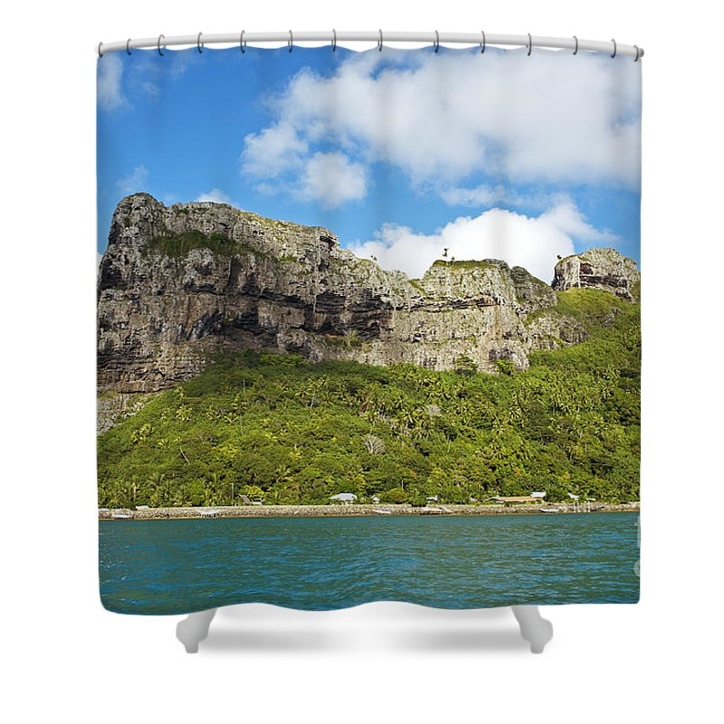 Beautiful Shower Curtain featuring the photograph Maupiti Island Cliff by Kyle Rothenborg - Printscapes