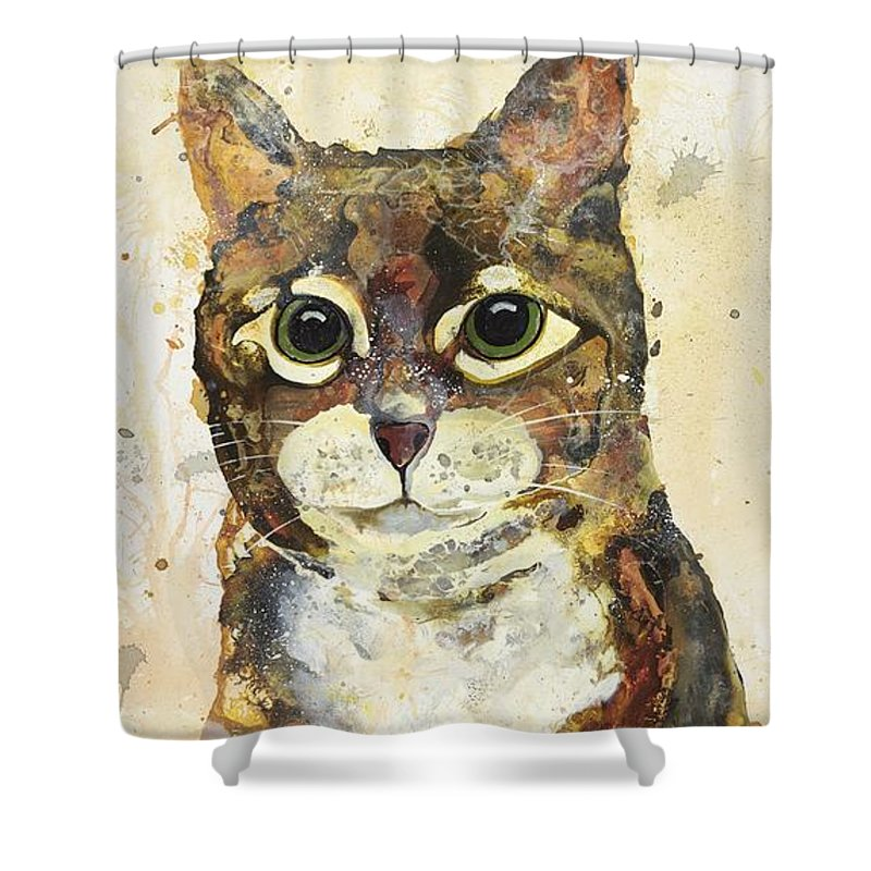 Cat Shower Curtain featuring the painting Max by Kasha Ritter