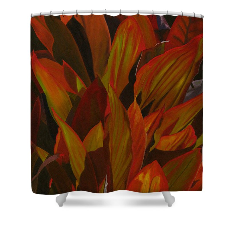 Plant Shower Curtain featuring the painting May Festival by Thu Nguyen