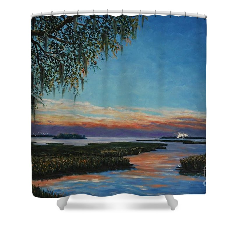 Sunset Shower Curtain featuring the painting May River Sunset by Stanton Allaben