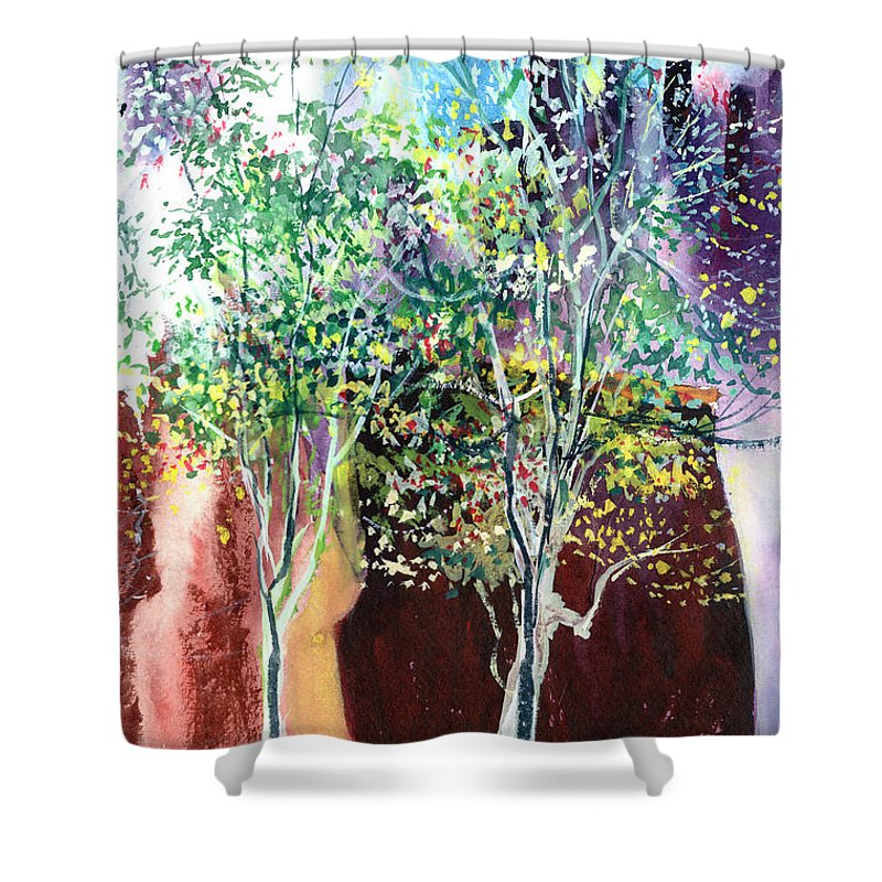 Nature Shower Curtain featuring the painting Maya by Anil Nene